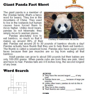 Endangered animals / polar bear, panda, elephant - reading, Pre-Intermediate