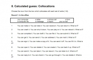 Collocations - In the meeting, In the office, On the road - Intermediate
