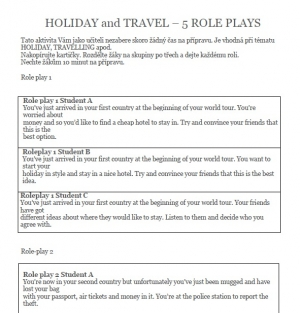 Holiday and travel role plays - drama v hodině AJ - Intermediate