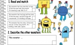 Monsters - read, match, describe - elementary